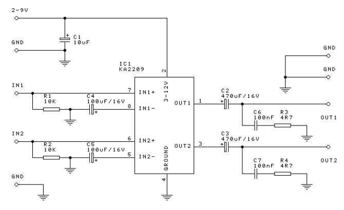 1 watt stereo audio amplifier circuit based ic ka2209