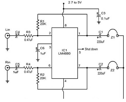 HiFi headphone amplifier circuit based LM4880
