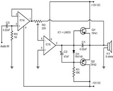 15w class B audio amplifier circuit