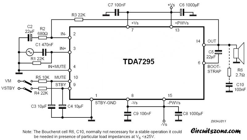 80w audio amplifier circuit using TDA7295