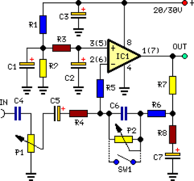 stereo preamplifier circuit with bass boost