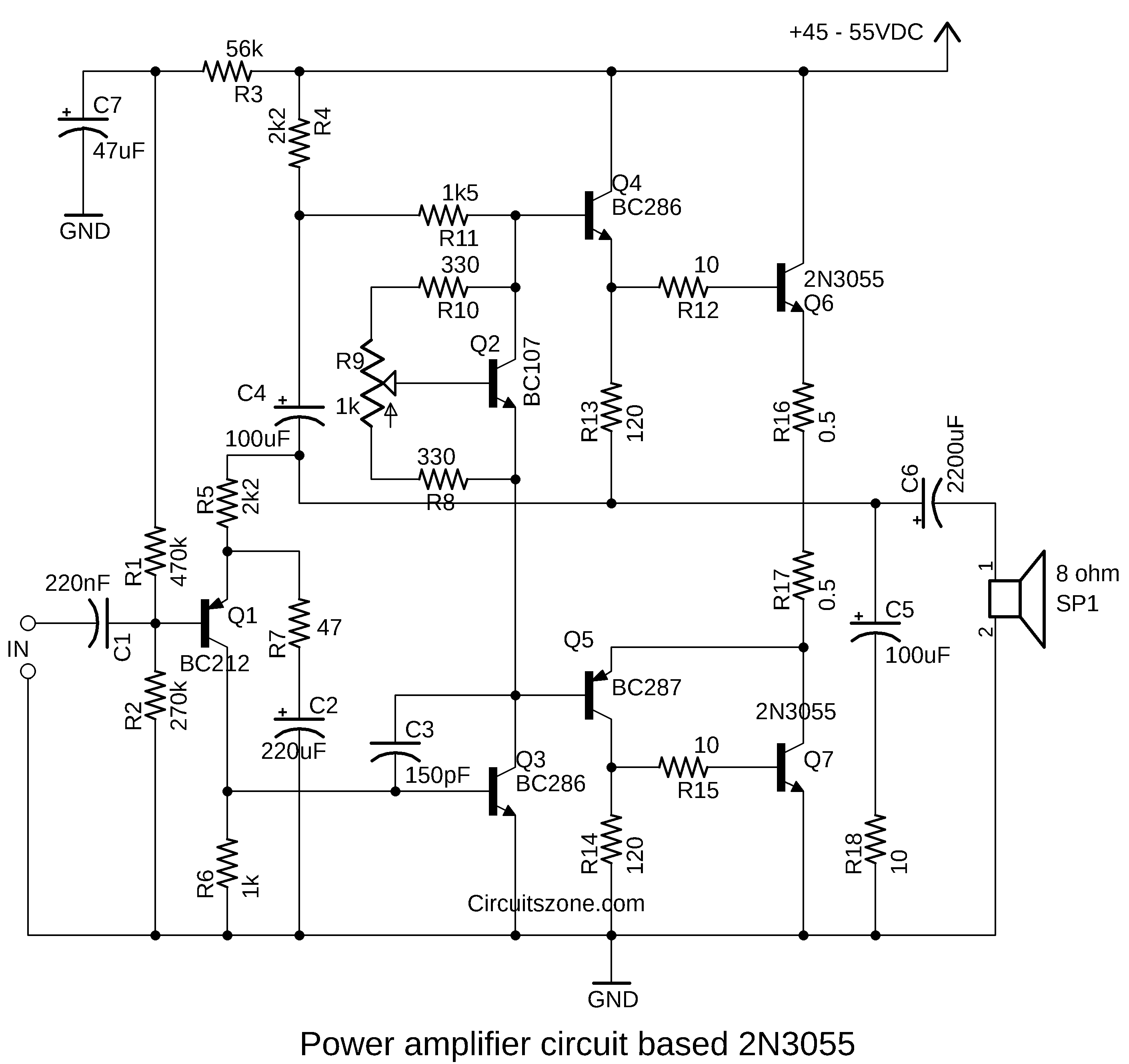 power amplifier based 2n3055
