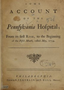 The title page of Some Account of the Pennsylvania Hospital
