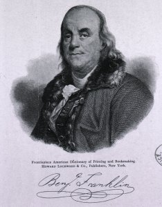 Engraved Portrait of Benjamin Franklin with his signatrue underneath