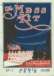 cover of a printed newsletter illustrated with men marching under the american flag