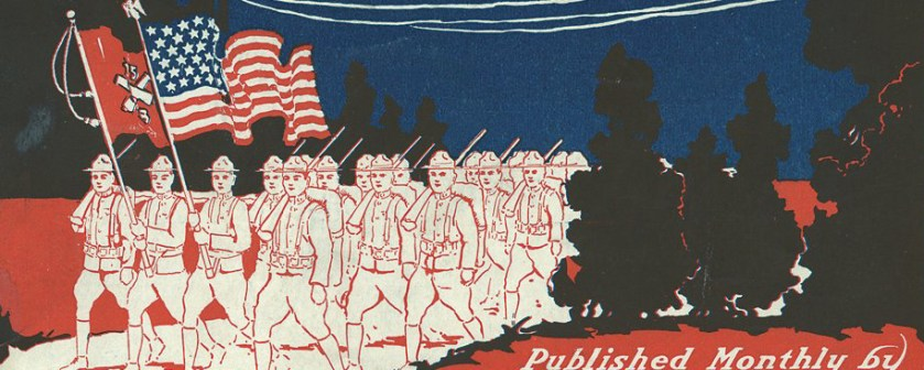 illustration of men marching under an american flag
