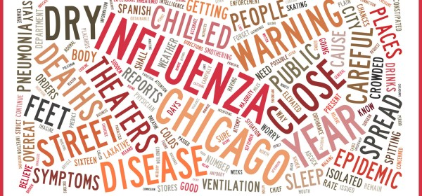 Word cloud in which influenza, chicago, warning, close, and disease, figure prominantly