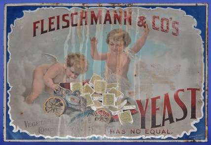 Worn metal sign reading Fleischman & Co's Vegetable Compressed Has No Equal.