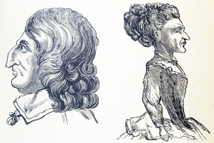 The profiles of a man and a woman with very large noses.