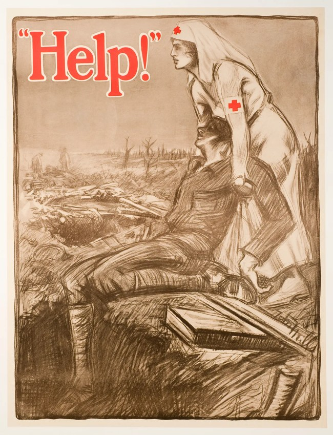 An illustration of a Red Cross nurse helpng a wounded soldier on the battlefield during World War I.