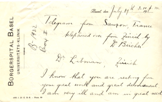 The front of a handwritten telegram from Sarah Bernhardt to Dr. Emanuel Libman.