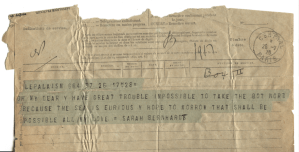 A telegram from Sarah Bernhardt to her Dr. Libman reporting on her condition.