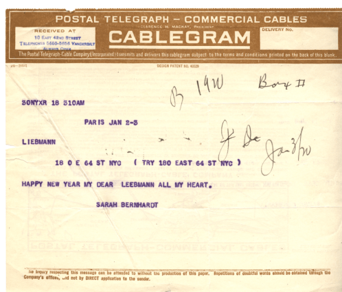 A telegram from Sarah Bernhardt to her doctor wishing happy new year.