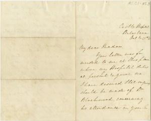 A handwritten letter sent from Castle Hospital, Balaclava on October 25, 1855.