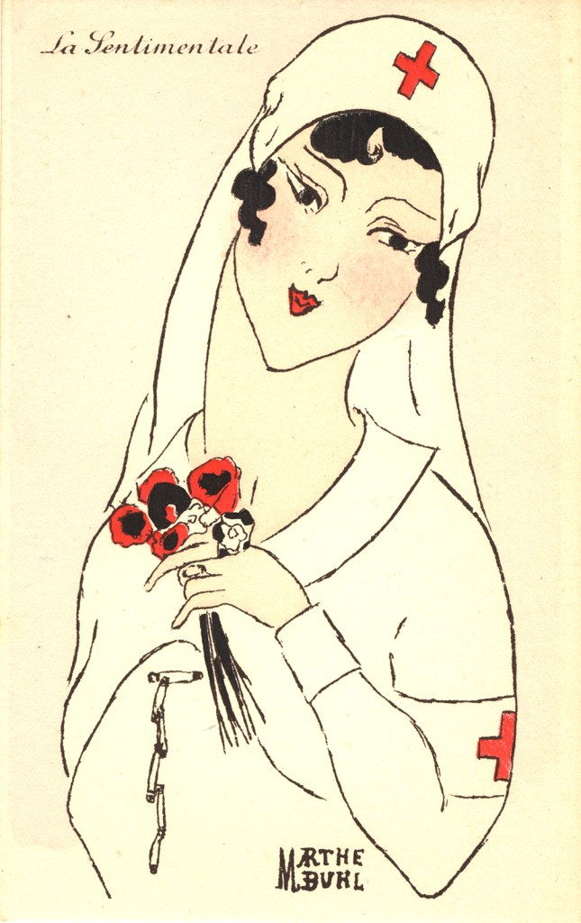 Nurse holding flowers.