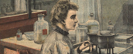 Colored newspaper illustration of Marie Curie in a lab.