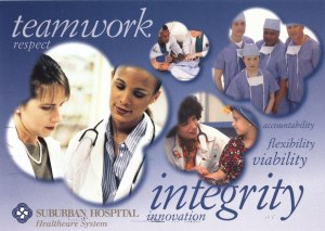 An advertisement for the Suburban Hospital Heathcare Systme featureing images of medical professionals and the words: teamwork, respect, accountability, flexibility, viability, integrity, and innovation.