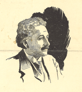 A line drawing of Einstein in profile.