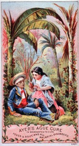 Advertising card for Ayer's Ague Cure; a tropical setting with a woman administering Ayer's Ague Cure to a man