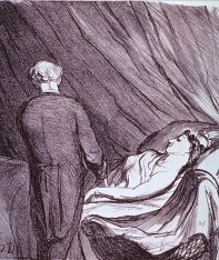 A woman lying in bed is having her pulse taken by a physician
