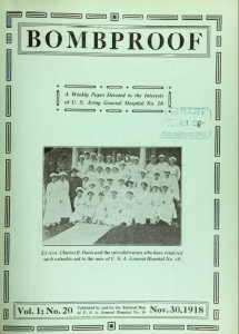 Cover of the November 30, 1918, issue of Boomproof featurig a photograph of Lt. Col Charles E. Davis ad the spendid nurses who have rendered such valuable aid tothe men of U.S.A. General Hospital No. 18.