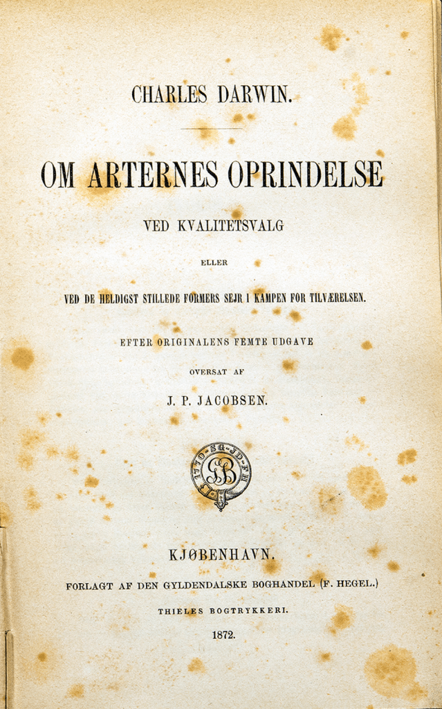 Title page of an 1872 translation of The Origin of Species into Danish.