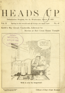 "Cover of Heads Up featuring a cartoon of a man lying in bed at home thinking ""I wonder if it's time for reveille"" and captioned ""Will it ever be forgotten?"""