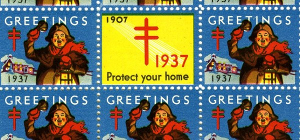 Detail from a page of 1937 Christmas Seals featuring a man ringing a bell.