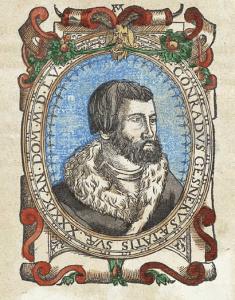 Hand colored Woodcut portrait of Conrad Gessner.