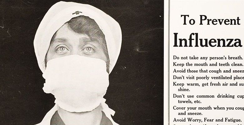 "A photograph of a nurse wearing a surgical mask and a list of tips ""to prevent influenza"""