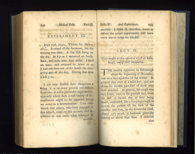 "Book open to section IV ""Of the measles as they appeared in 1738 at Edinburg, and of thier innoculation."