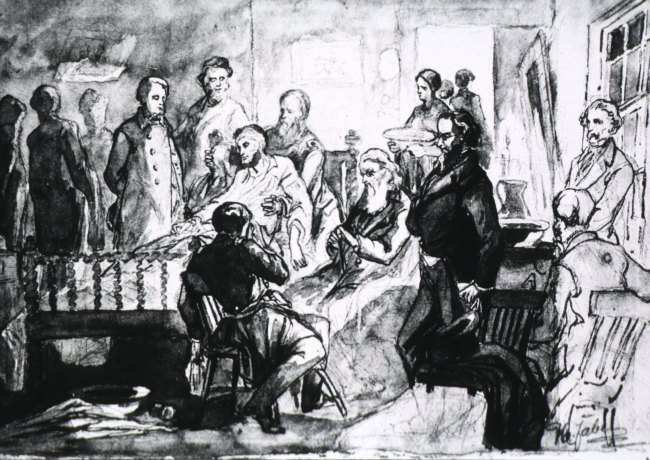 President Lincoln lying in bed at the Petersen house surrounded by physicians.