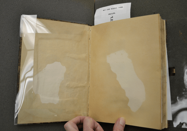 A photograph of an open book showing darkened areas where oil has soaked into the endpaper.