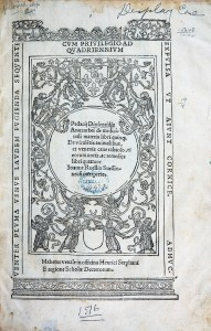 An ornate title page with winged human figures and vines.