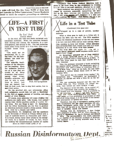 image of a photocopy of an article by Earl Ubell titled Life-A First in Test Tube.