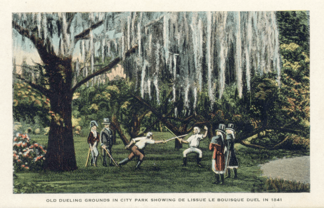A postcard showing men dueling with swords under Spanish moss hung oak trees.