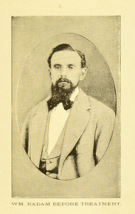 A thin man in a formal vignette photograph.