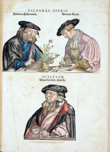 Colored portraits of three men in colored robes and hats, two are shown drawing a plant from life.