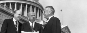 John E. Fogarty with Melvin Laird and Sam Rayburn on the U.S. Capitol steps. ca. 1960.