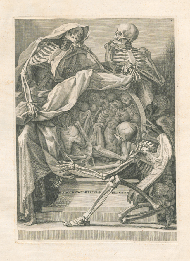 Three skeletons surround and draw back a cover from a circular portal full of bodies and skeletons.