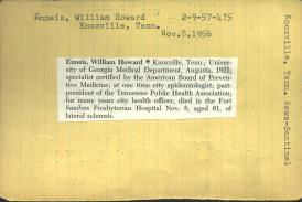 A typed card with a short newspaper obituary posted on it.