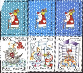 """6 1997 stamps from Italy. The top row of 3 stamps feature cartoon images of St. Nicolas. The bottom row of 3 stamps each feature a colorful illustration and say """"Poste Vaticane""""."""