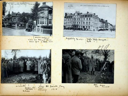 A page of four photographs of buildings and funerals.
