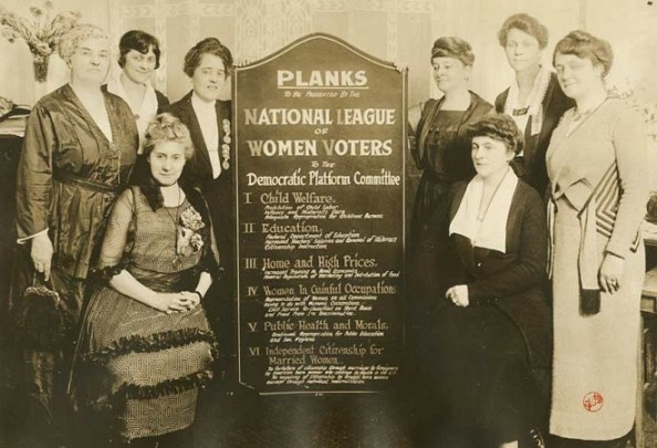"""""""Infancy and Maternity Care"""" and public health education are part of the planks presented by the National League of Women Voters during the 1920 Democratic Convention Courtesy Collection of the Oakland Museum of California"""