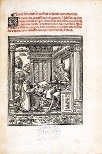 Latin title text in red and a woodcut of a kneeling man handing a book to a man seated in a classical porch.
