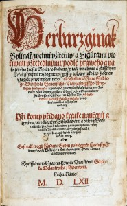 Ornate Czech title text in red and black ink.