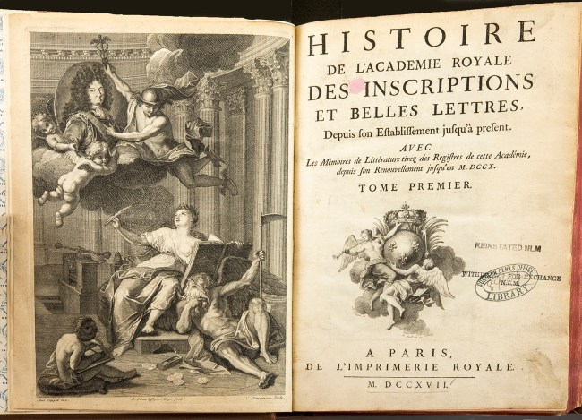 An open book showing the title page of Histoire de L'Academie Royale... and an elaborate engraved centerpiece honoring King Louis XV
