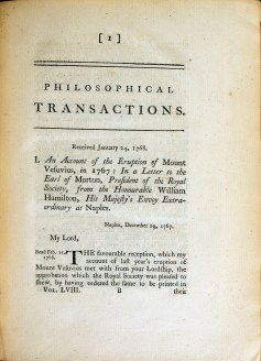A page from the Journal Philosophical Transactions which begins an account of the Eruption of Mount Vesuvius in 1760.
