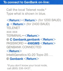 Instructions for connecting to GenBank via Telenet.