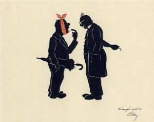 In silhouette a man with a toothache points out the tooth to a dentist.
